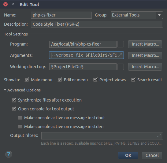 PhpStorm Edit Tool screenshot