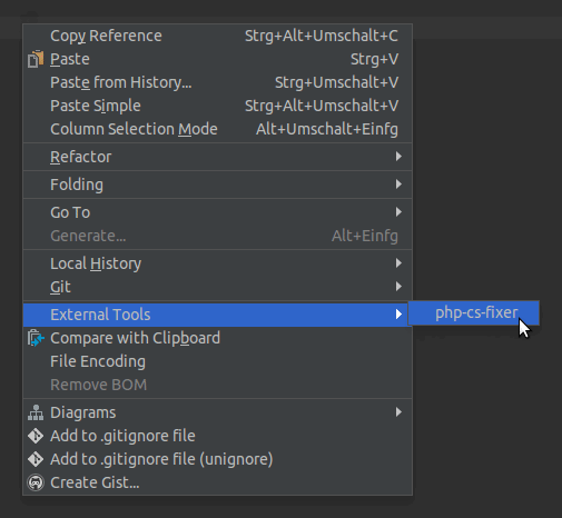 PhpStorm Run Tool screenshot